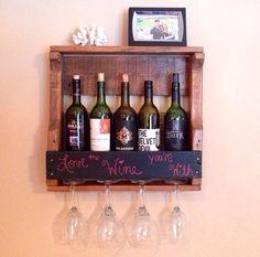 Rustic Chalkboard Wine Rack! Reclaimed Pallet Wood Wine Rack