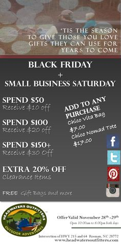 Black Friday and Small Business Saturday Sale Announced!