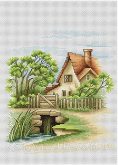 Luca-S Counted Cross Stitch Kit - Summer Landscape Cross Stitch House, Counted Cross Stitch Patterns, Cross Stitch Designs, Cross Stitch Embroidery, Tapestry Kits, Cross Stitch Landscape, Cross Stitch Pictures, Summer Landscape, Cross Stitching