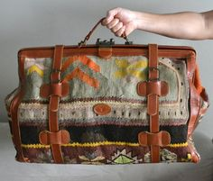 Turkish Carpet Bags | Amazing Vintage Turkish Kilim Carpet Travel Luggage Bag Storage. $335 ...
