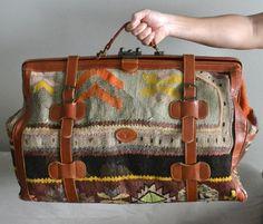 Turkish Carpet Bags | Amazing Vintage Turkish Kilim Carpet Travel Luggage Bag Storage. $335 ...