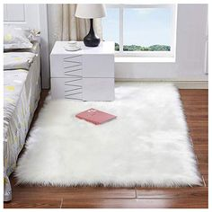 Luxury Plush Faux Fur Rugs For Bedroom Artificial Wool Soft Fluffy White Fur Rug For Living Room Bedroom Couch Area Floor Rugs Fur Carpet, Plush Carpet, White Carpet, Patterned Carpet, Rugs On Carpet, Stair Carpet, Carpet Mat, Bedroom Carpet, Living Room Carpet