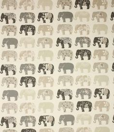 Clarke and Clarke Studio G  Elephants in Natural Curtain Upholstery Craft Fabric