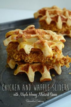 Chicken and Waffle Sliders - www.sarcasticcooking.com Sauce For Chicken, Honey Chicken, Chicken Recipes, Waffle Sandwich, Grilled Sandwich, Chicken Sliders, Boneless Skinless Chicken, Slider Recipes, Chicken And Waffles