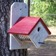 Coffee Can Birdhouse - Recycled Painted Whitewashed Weathered Rough Cedar - Primitive Rustic