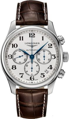 Master Collection Chrono Leather White Dial Automatic Watch