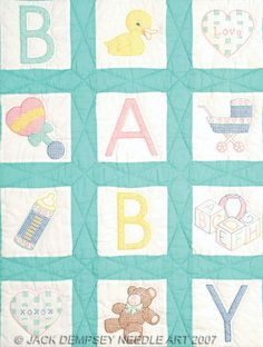 Baby Nursery Quilt Squares - Stamped Cross Stitch Kit