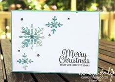 Stampin Up Snowflake Sentiments stamp set and Swirly Snowflakes Thinlits. Christmas card by Claire Daly, Stampin' Up! Demonstrator Melbourne Australia.