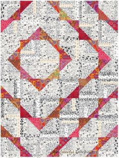 log cabin triangle blocks in kaffe fabric and black/white prints   - the colorful fabriholic