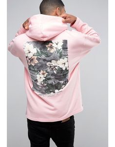 Image 1 of ASOS Oversized Hoodie With Freedom Print In Pink