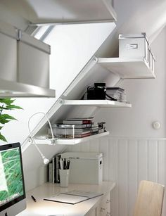 A slanted wall shelving unit for slanted walls at ikea: Ekby Riset adjustable brackets and shelves. Small Spaces, Interior, Home Furnishings, Ikea Ekby, Home, Ikea Catalog, Storage Spaces, Slanted Walls, Home Office Design