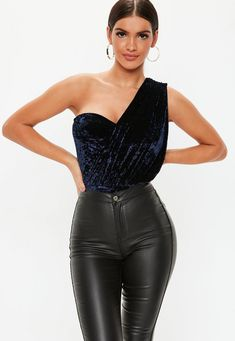 Navy Crushed Velvet One Shoulder Bodysuit. Order today & shop it like it's hot at Missguided. Womens Bodysuit, Party Shop, Crushed Velvet, Missguided, Party Wear, Night Out, Leather Pants, One Shoulder, Skinny Jeans