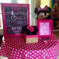 Minnie Mouse First Birthday Chalkboard Poster Girl 1st Birthday Chalk Board Custom Printable by PersonalizedChalk on Etsy