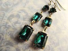 Emerald Green Gothic Earrings Rhinestone Drop Earrings Estate