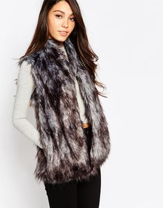 BCBGeneration Faux Fur Vest in Gunmetal