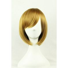 Light Brown Inclined Bang Harajuku Bob Short Straight Cosplay Wig ($21) ❤ liked on Polyvore featuring beauty products, haircare and hair styling tools