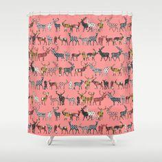 spice deer blush salmon Shower Curtain by Sharon Turner - $68.00 #society6 #showercurtain #pink #deer #ikat #sharonturner #diamonds #arrows #chevron #bathroom
