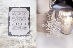 Cute wintery invites.  FYI...my mom has a punch this shape if you want to do them yourself.