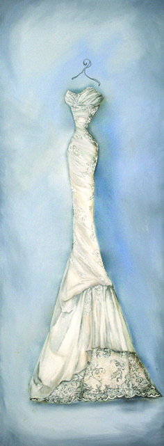 Beautiful oil painting of a wedding dress, a lovely and unique wedding gift for the bride. Find out more about these wedding dress portraits here; http://www.appleberrypress.com/wedding_stationery_546_Oil-Painted-Dress-Portrait