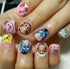 Winnie the Pooh nail art, piglet, Tigger, Eeyore Great Nails, Love Nails, Fun Nails, Disney Acrylic Nails, Disney Nails, New Nail Art, Cute Nail Art, Christmas Nail Designs, Christmas Nails