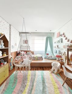 Outstanding Elevated kids' room decorating ideas - What did your room resemble when you were a kid? Baby Bedroom, Girls Bedroom, Bedroom Decor, Bedrooms, Kids Room Curtains, Kids Room Rugs, Cool Kids Rooms, Kids Room Organization, Cozy Room