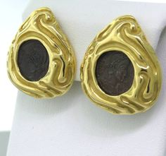 Elizabeth Gage Gold Ancient Coin Earring | From a unique collection of vintage more earrings at https://www.1stdibs.com/jewelry/earrings/more-earrings/