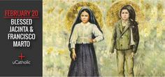 Bl. Jacinta  Francisco Marto - Between May 13 and October 13, 1917, three children, Portuguese shepherds from Aljustrel, received apparitions of Our Lady at Cova da Iria, near Fatima, a city 110 miles north of Lisbon. Up to 90,000 people gathered for Mary's final apparition on October 13, 1917. Catholic Saints, Three Kids, Our Lady, Lisbon, Portuguese, Portugal, Angels, Blessed, October
