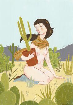woman, cactus, phoenix, desert