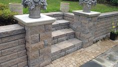flowers on pillars paver patio Back Yards Patio Stairs Posts Walls & Court flowers on pillars paver