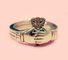 Gimmel Ring Sterling Silver 3 Ring Fede Claddagh by Laeclectica, $85.00