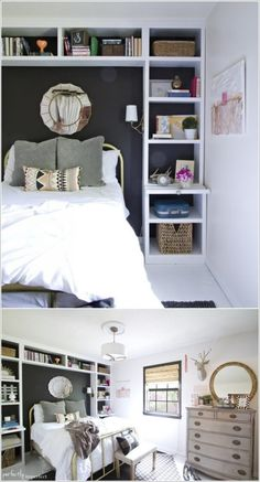 Best Small Bedroom Storage Ideas For Your Favorite Home If you live in an apartment with small bedrooms then keeping them free from clutter must be an everyday challenge for you. But now you can say goodbye to c bedroom storage Bedroom Storage For Small Rooms, Small Bedroom Ideas For Couples, Diy Room Decor For Teens, Small Space Bedroom, Storage Ideas For Small Bedrooms Teens, Small Double Bedroom, Small Bedroom Hacks, Small Basement Bedroom, Bedroom Shelving