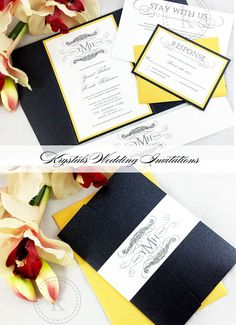 The Mekonnen Suite - Signature Monogram Pocketfold Wedding Invitations - Krystals Wedding Invitations #weddings #weddinginvitation