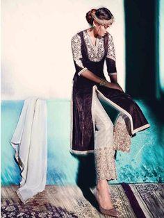 0db456b41612b5 Buy Elegant Brown Color Pure Velvet Fabric Heavy Embroidery Work Semi  Stitched Anarkali Salwar Kameez Indian
