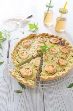 Photo de la recette : Tarte aux courgettes, chèvre et lardons