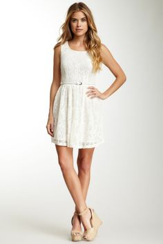 Papillon Belted Lace Tank Dress