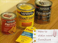 How-To: Stain A Hardwood Table - The Borrowed Abode Refurbished Furniture, Furniture Makeover, Painted Furniture, Staining Wood Furniture, Staining Cabinets, Furniture Projects, Diy Furniture, Wood Projects, Furniture Plans