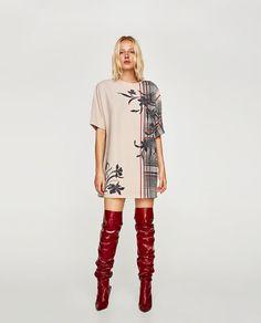 VESTIDO ENGOMADO MANGA CORTA-Mini-VESTIDOS-MUJER | ZARA España Mini Vestidos, Red Boots, Casual Attire, Dresses For Sale, Catwalk, Bikinis, Fashion Shoes, Short Sleeves, Short Sleeve Dresses