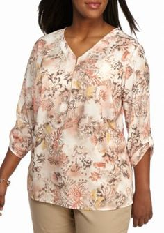 Alfred Dunner  Plus Size Just Peachy Floral Print Tunic