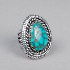 d1a643f3ea9 turquoise jewelry outfit Silver and Turquoise Ring by Lee Yazzie