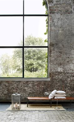 Broste Copenhagen (Interior design, home decor, fun, creative, ideas, inspiration, amazing, different, interesting, style, large window, seat, raw, brick, wall, minimalistic, new yorker loft, apartment)