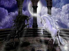 Light VS. Dark - unicorn, dark, fantasy, light