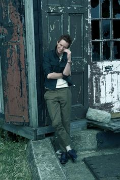 Eddie Redmayne wearing Berluti's cotton jacket and pants with Dunhill's cotton shirt. Prada belt; Louis Vuitton shoes. [Photo by Brian Bowen Smith]