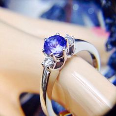 #WeBuyGoldBoutique ~ Stunning Stunning Stunning 14k White Gold Solitaire Violet Tanzanite & Brilliant Diamond Accent .80 TCW Cathedral 6- Prong Ring.