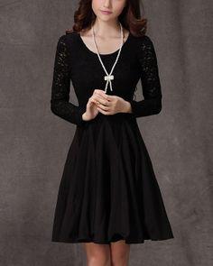 Long Sleeved Black Lace Chiffon Dress / Little Black by DressStory