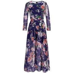 Vintage Chiffon Plus Size Floral Print Long Sleeve Round Neck Maxi Dre ($20) ❤ liked on Polyvore featuring dresses, long dresses, plus size maxi dresses, long blue dress, women plus size dresses and long sleeve chiffon dress