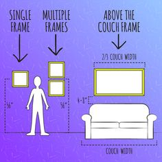 Find the proper height for your picture frames: 12 Useful Charts To Help You With Your Move Picture Hanging Height, Picture Hanging Tips, Hanging Pictures On The Wall, Hanging Artwork, Picture Wall, Picture Collages, Height To Hang Pictures, Picture Placement On Wall, Hanging Photos