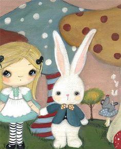 Wonderland Print Alice Rabbit Mushroom Fairy Tale por thepoppytree