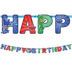 The PJ Masks Birthday Banner Kit features cardstock cutouts with PJ Masks characters and a 'Happy Birthday' message. Customize the center cutout with the age of your little hero. Halloween Costume Shop, Halloween Costumes For Kids, 3rd Birthday Parties, 4th Birthday, Birthday Board, Birthday Ideas, Pj Masks Stickers, Number Stickers, Pjmask Party