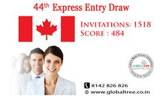 44th Express Entry Draw - Invitations: 1518 - Score: 484 If you are Interested to Canada? Please fill this form: bit.ly/1Zc4Lnv or Call us: +91 8142826826 #CanadaImmigration #CanadaExpressEntry