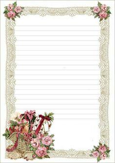 Floral Basket Lined ~~J Printable Lined Paper, Free Printable Stationery, Lined Writing Paper, Stationery Paper, Vintage Labels, Note Paper, Paper Decorations, Journal Cards, Vintage Paper